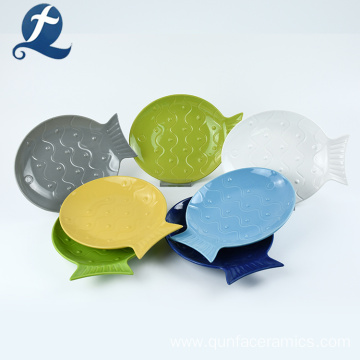 New design custom restaurant fish shape small ceramic plate