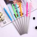 Bent Stainless Steel Straw With Silicone Tips