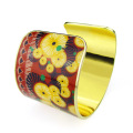 Custom Enamel Wide Gold Plated Cuff Bracelet
