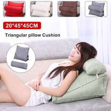 Reading Pillow Stereo wedge Shape Backrest Pillow Waist Cushion Washable Cotton Linen Sofa Cushions Bed Rest Maternity Lounger