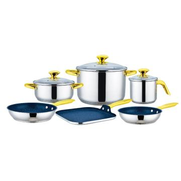 9 Pieces Cookware Set with Square Griddle