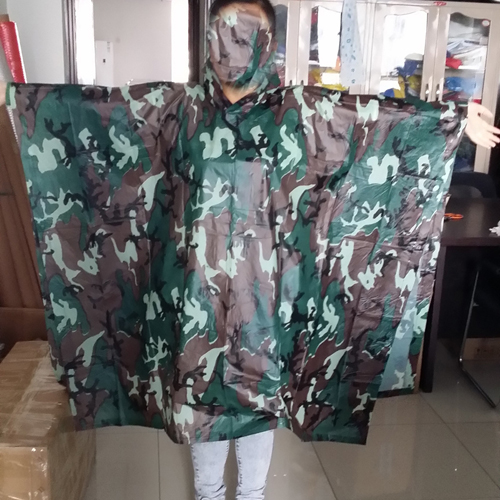 dark green rain poncho