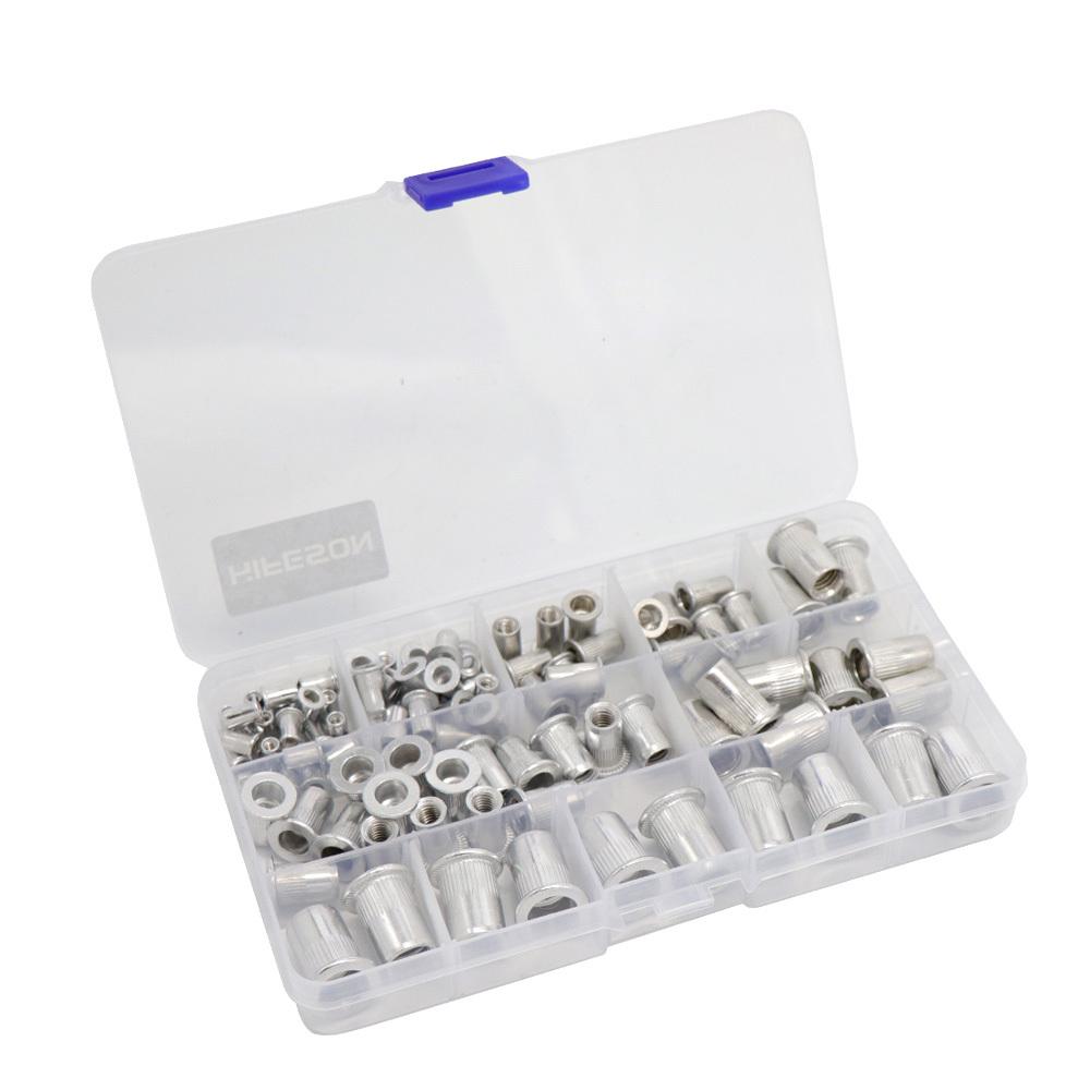 HIFESON 95Pcs and 300Pcs Aluminum Rivet Nut Set Rivnut Insert Nutsert KIT M3 M4 M5 M6 M8 M10 for Rivet Nut Gun Riveter Tool