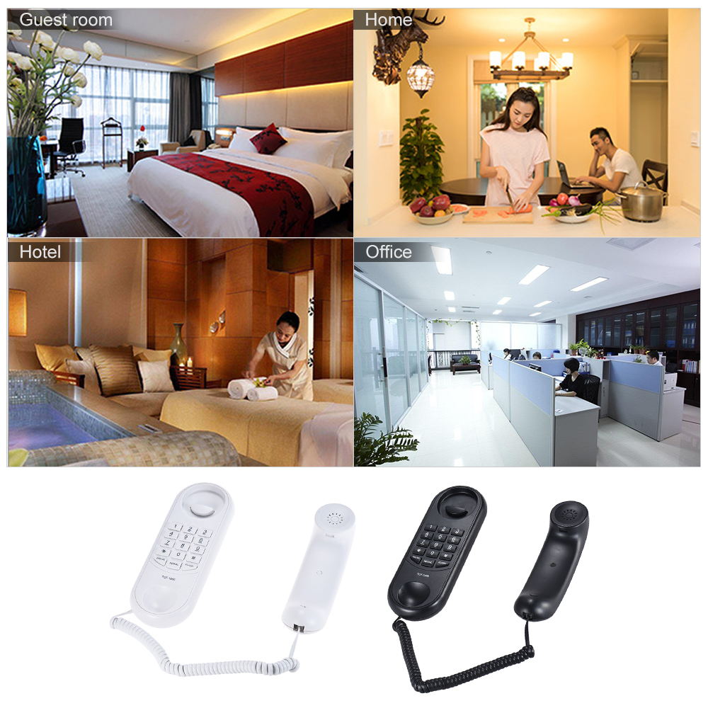 Portable Corded Telephone Phone Pause/ Redial/ Flash Wall Mountable Base Handset for House Home Call Center Office Company Hotel