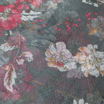 Floral design polyester mesh fabric