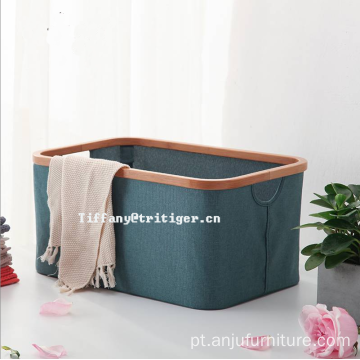 Home organizer bamboo frame oxford material laundry basket