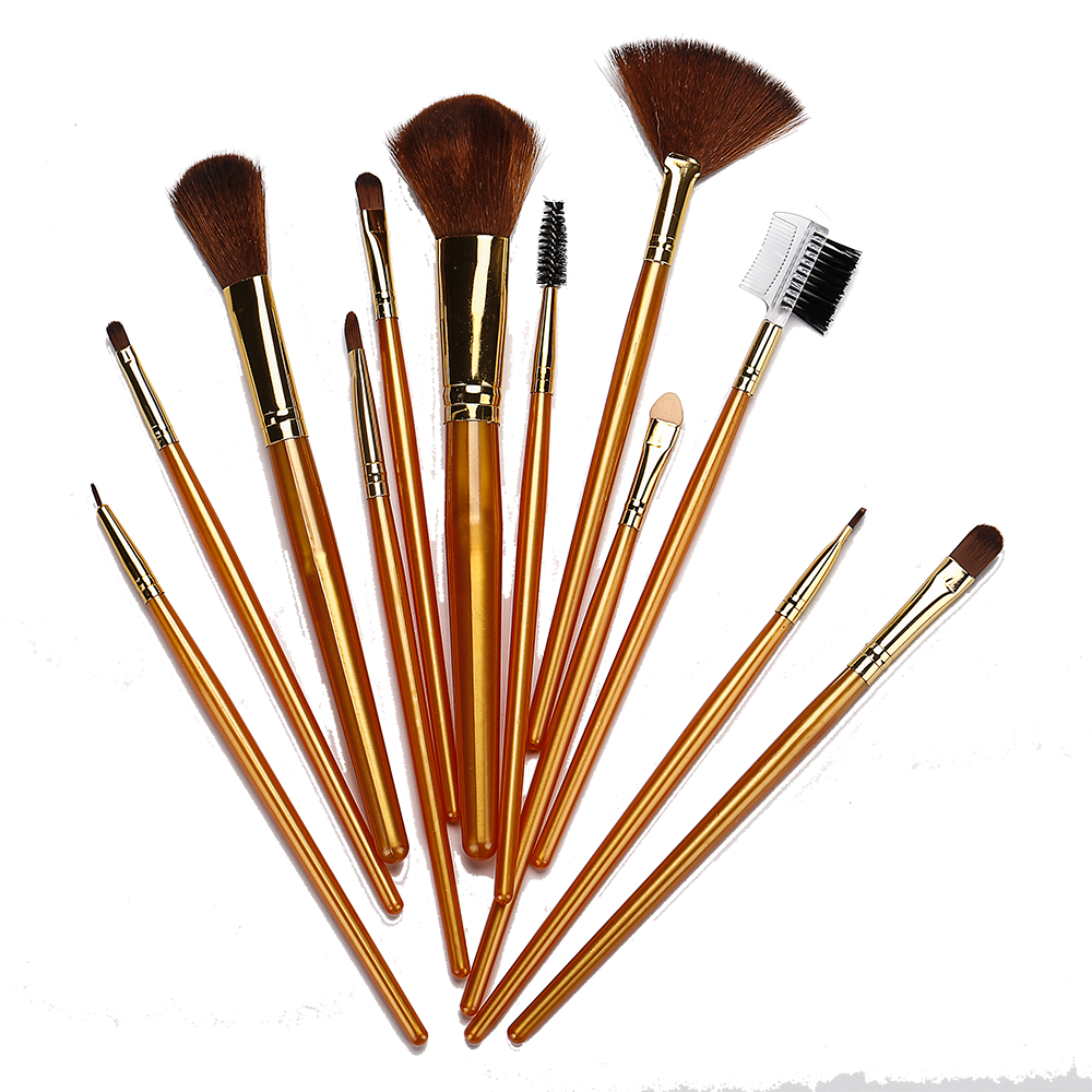 12 Gold Makeup Brush Set