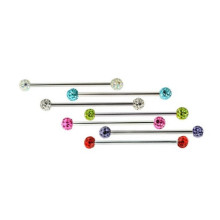 Surgical Steel Industrial Barbell with Multi-Crystal Balls