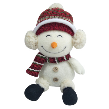 Sitting Christmas snowman decoration white plush