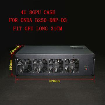 PC Server Case USB Miner Rack ETH/ETC/ZEC/Monero XMR Mining Rig 8 GPU Frame For Onda B250-D8P-D3 8 Card 4U Chassis