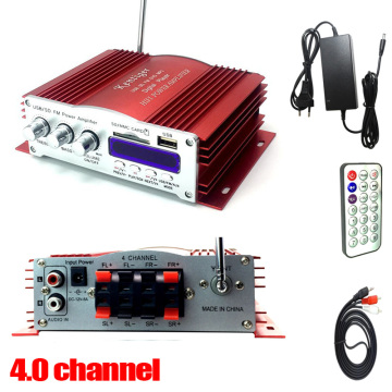 KENTIGER 3001 4 Channel Amplifier With Remote Control USB/SD Card Player FM Radio 12V5A Power Adapter And AUX Cable Optional