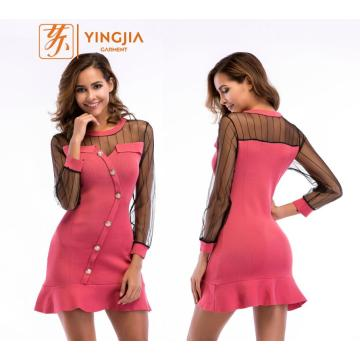 Knitted Casual Mesh Spliced Buttons Ruffled Dress