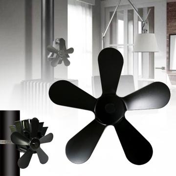 Wood Stove Winter Heat Powered Fireplace Fan 5 Blades Heat Powered Stove Fan Log Wood Burner Quiet Black Home Fireplace Fan