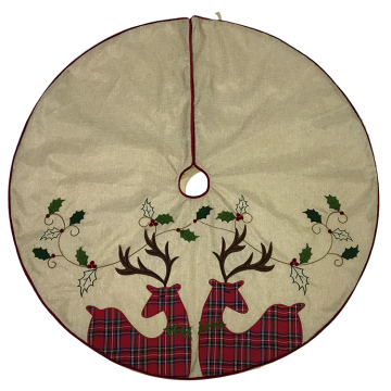 Christmas Tree skirt deer hessian embroidery