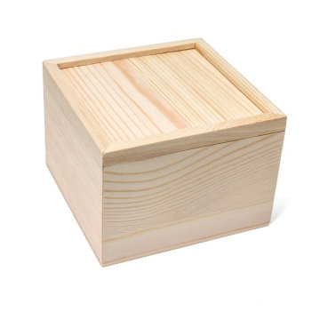 Unfinished Pine Wood Sliding Lid Storage Jewelry box