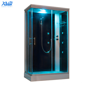 Frameless steam shower bath enclosure cabin in home