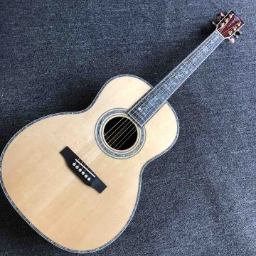 Custom OOO Style 39 Inch 43mm Nut Wide Rosewood Back Side All Abalone Binding Acoustic Electric Guitar with Electronic EQ