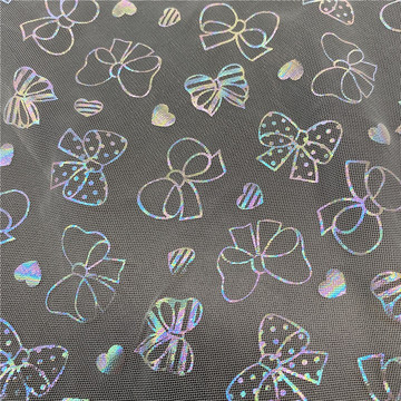 Fancy Bowknots Foil Printed Tulle Fabric for Dress