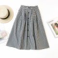 Women Black-and-white Checks Chiffon Skirt Casual Dresses