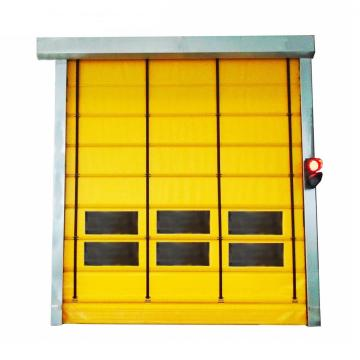Automatic folding up stacking high speed door