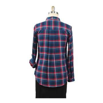 Cotton Women's Plaid Shirt With Beading