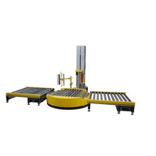 Automatic roller pallet stretch wrapping machine