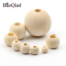 10-40mm Big Hole Natural Wooden Beads Lead-free Wood Round Balls For Jewelry Making Diy Children Teething Spacer Wood Crafts