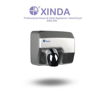 Button type hand dryer with nozzle
