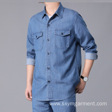 Custom Mens Tencel denim long sleeve shirt