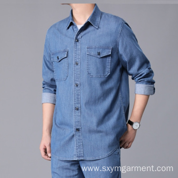 Mens Tencel denim long sleeve shirt