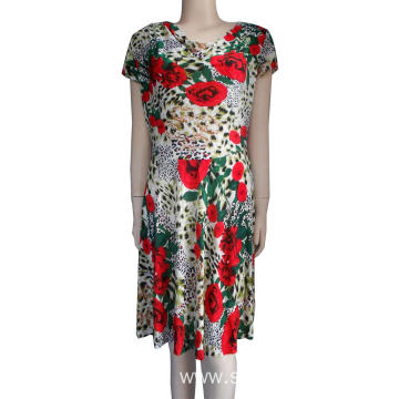 Lady's 85% polyester 15% cotton printed dresses