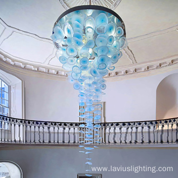 Mall large ceiling blue chandelier hanging lamp