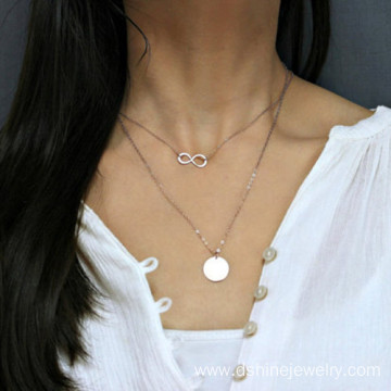 Multi Layers Infinity White Gold Chain Necklace Choker