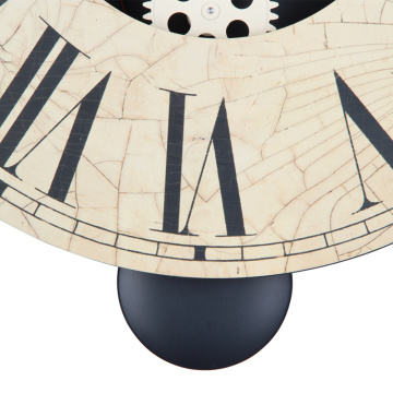 Round Retro Wooden Pendulum  Gear Wall Clock