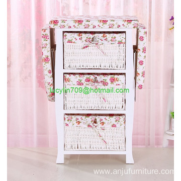 Home Furniture Ironing Board Wooden Ironing Cabinet With Wicker Drawer