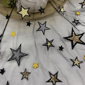 2mm Shiny Yellow Sequin Star Mesh Embroidery Fabric