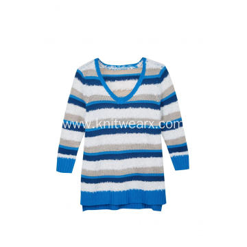 Women's Knitted Color Block Stripes V-Neck Pullover