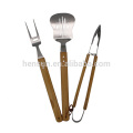 3pcs Wooden Handle bbq grill tools set