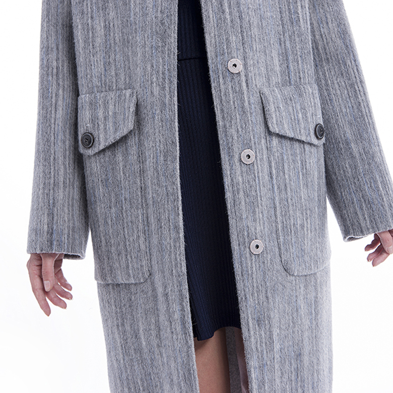 The front of lady's grey classic cashmere overcoat