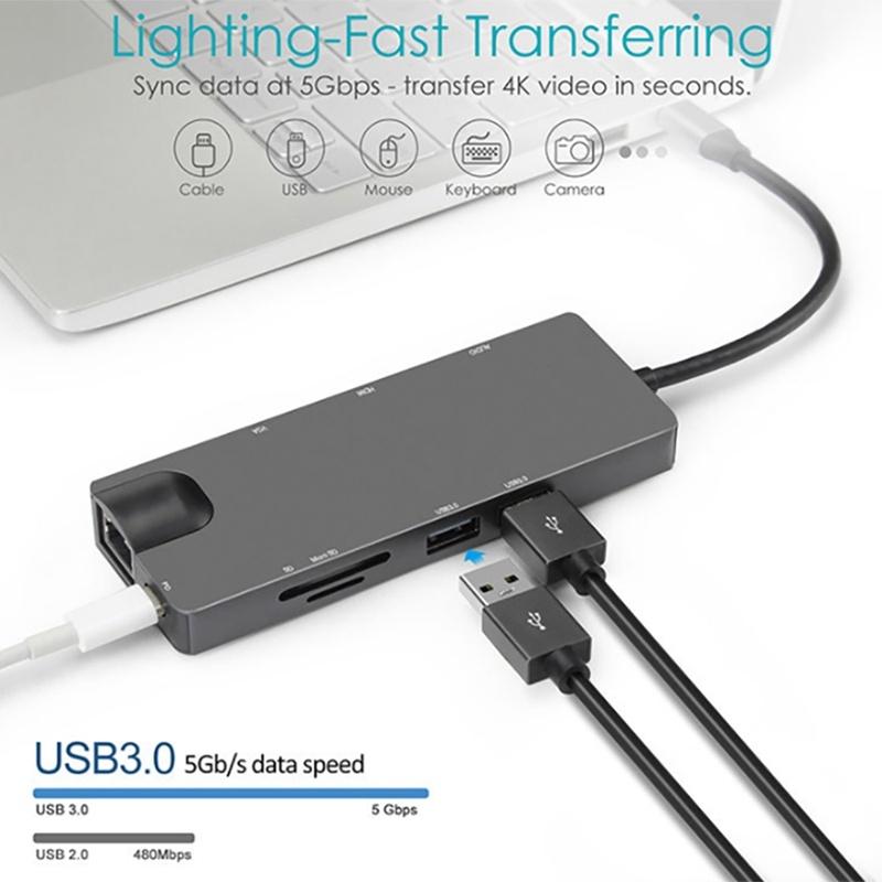 9 in 1 USB C HUB, Docking Station with USB3.0X2 + SD/TF + VGA + HDMI + o + RJ45 + PD for PC Laptop