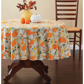 Tablecloth PE with Needle-punched Cotton Pumpkin Round
