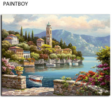 Seascape Framed Pictures Painting By Numbers Wall Art Europe Style DIY Canvas Oil Painting Home Decor For Living Room G440