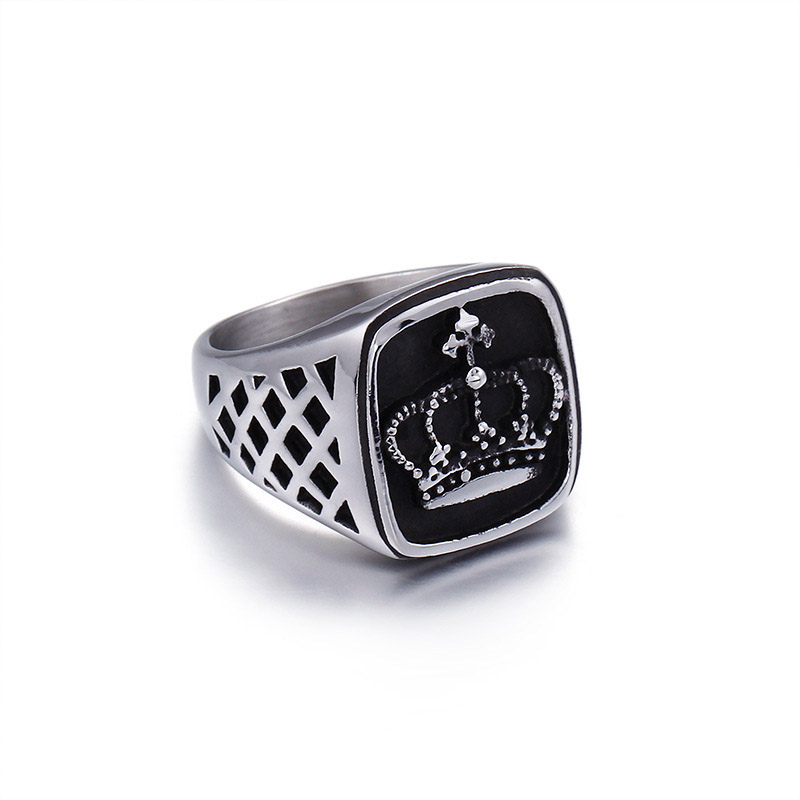 Square Stainless Steel Mens King Crown Ring