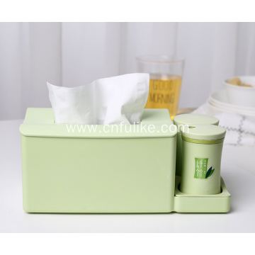 Bamboo Tissue Box Napkin Holder with Toothpick Holder