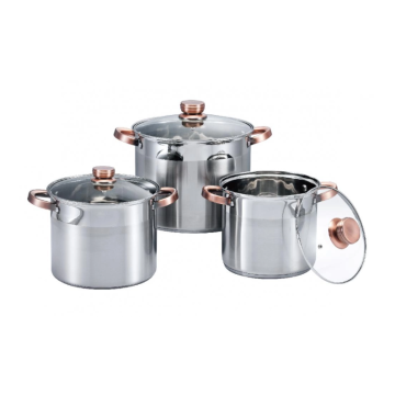 0.5mm Stainless steel pot with golden anti-scald handle