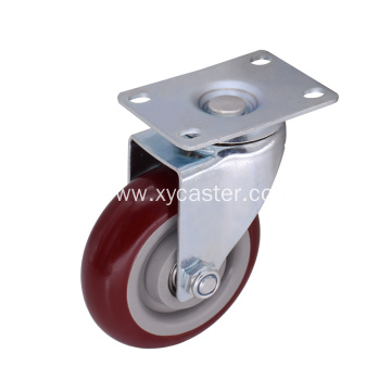 4 Inch Plate Furniture Caster PVC Wheel