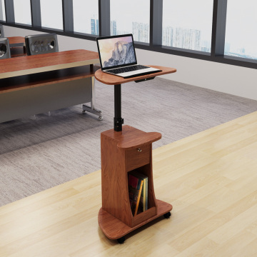 Height Adjustable Laptop Cart With Top And Storage