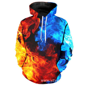 Blue and Red fire fashion hoodie