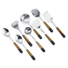 8PCS Stainless Steel Wood Handle Utensils Set