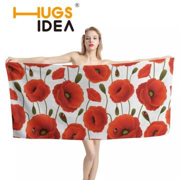 HUGSIDEA Cotton Soft Adult Cartoon Towel Bath Towel Textile Poppy Flower Large Microfiber Towel Hotel Bathrobe Beach Towel